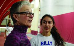 READY TO RUN. Head track coach Lynne Ingalls speaks to girls track team member and captain Alex Stevanovich after a workout.