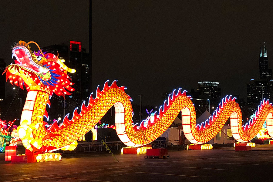 LIGHT UP THE NIGHT. The Dragon Lights festival illuminates Soldier Field with its celebration of Chinese culture.