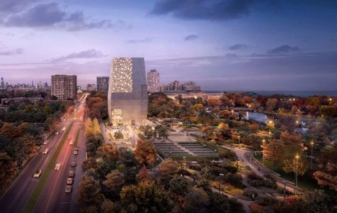 LOOKING FORWARD. An artist's rendering of the view north along Stony Island Avenue, which the Obama Foundation hopes to realize in 2021 when the Obama library is set to finish construction.
