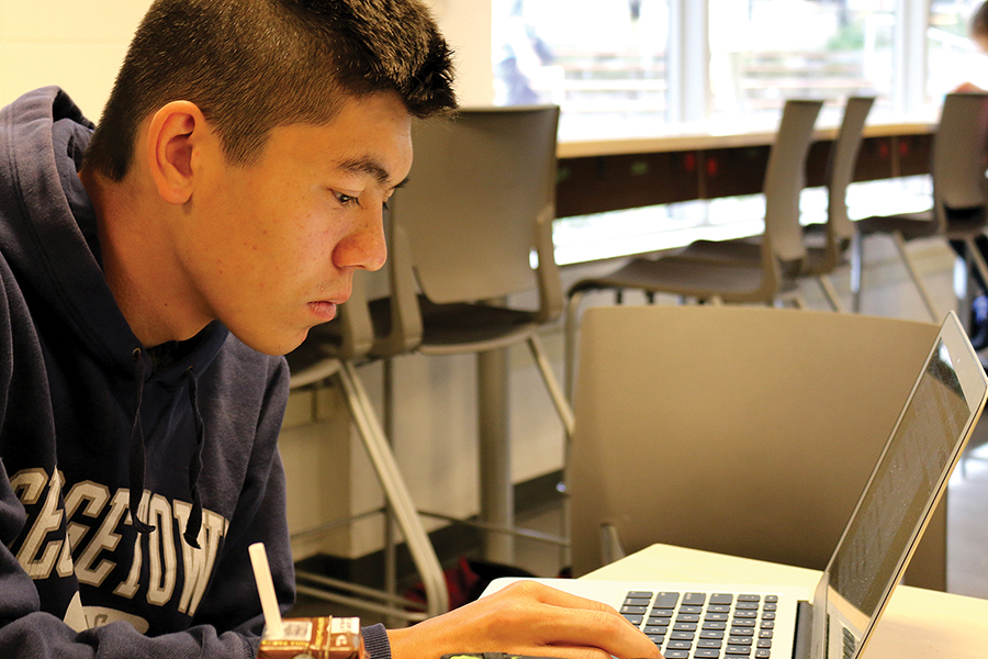 STRESSFUL STUDIES. With his uneaten lunch close by, junior Tyler Pomposelli examines his computer screen in a quieter section of the cafeteria. According to a recent survey of both middle and high school students, homework causes the most stress among students.