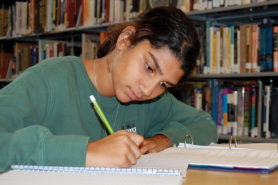 PUTTING+IN+THE+WORK.+Sana+Shahul%2C+a+sophomore%2C+works+on+her+math+homework+in+the+high+school+library.+Sana+is+an+active+member+of+the+U-High+community+with+her+commitment+to+computer+science.+She+is+also+active+in+solving+the+problems+she+sees+in+the+world.+Her+charity%2C+%E2%80%9CMission+Blue+Aqua%E2%80%9D%2C+works+to+create+biofilters+to+ensure+safer+water+for+the+people+of+Haiti.+