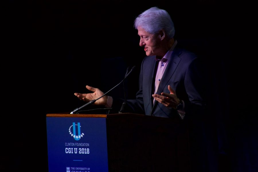 TACKLING TOUGH ISSUES. Former President Bill Clinton introduces the panelists for a session on gun violence.