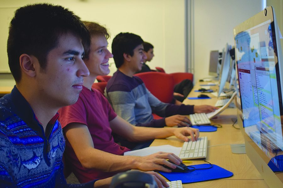 PROGRAMMING FUN. Nicholas Pietrazek, Henry Sowerby and Suleyman Ahmed work on programming for their AP Computer Science class. The class focuses on learning to program with Java on BlueJ.