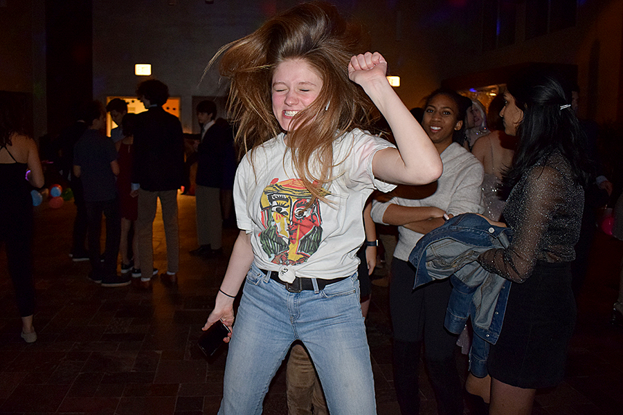 DANCE YOUR HEART OUT — Junior Eleanor Skish dances at the Winter Formal. Approximately 200 students attended.