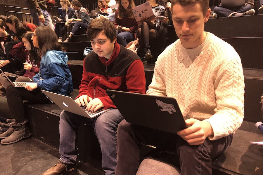 Seniors take the second wellness survey in Sherry Lansing Theater.