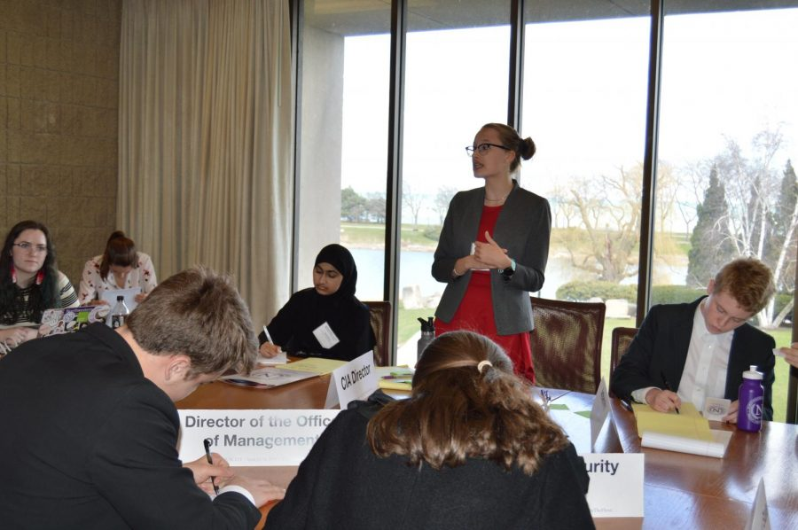 Junior Franzi Wild speaks in front of her committee at the Northwestern Model UN conference.