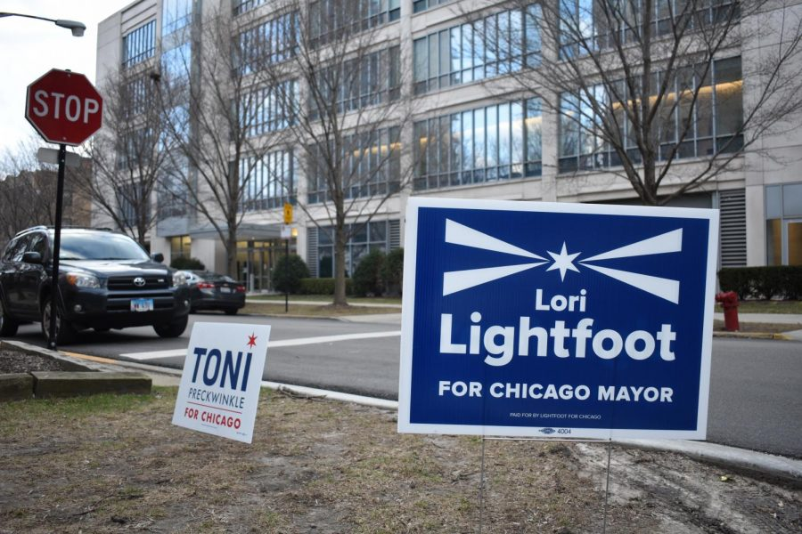 The+campaign+signs+for+Lightfoot+and+Preckwinkle+have+been+all+over+Hyde+Park+and+Chicago+for+a+few+months+now.