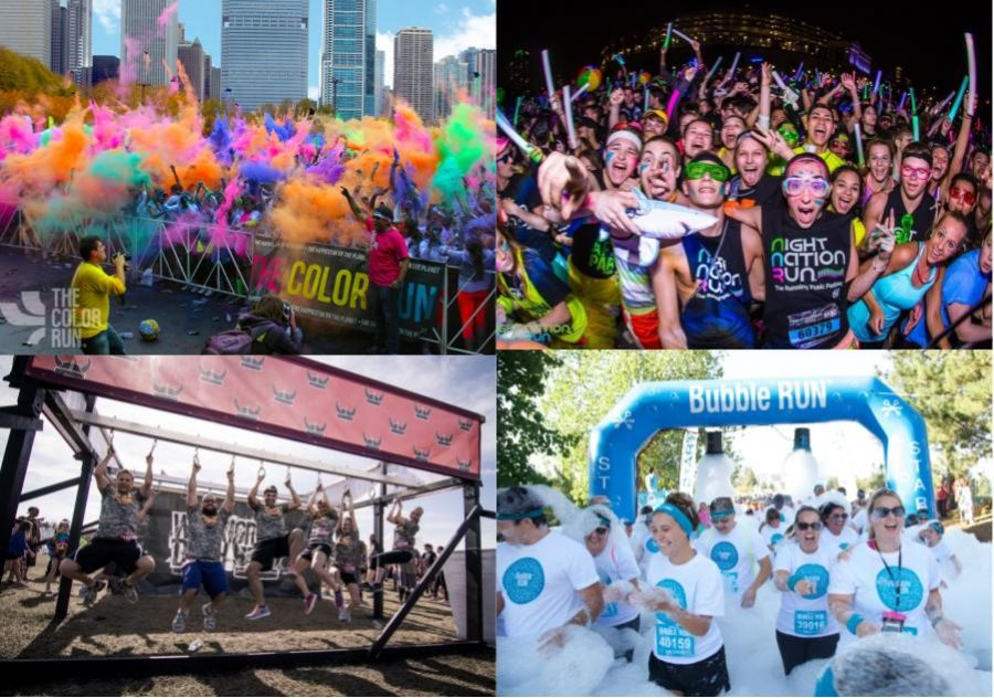 Night Nation Run, Bubble Run, Warrior Dash and the Color Run (clockwise from the top right), which are four of Chicago's