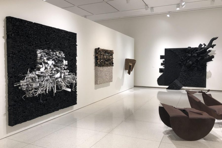 The joint installation showcasing works by Leonardo Drew and Melvin Edwards at the Smart Museum. The works are being presented as part of the