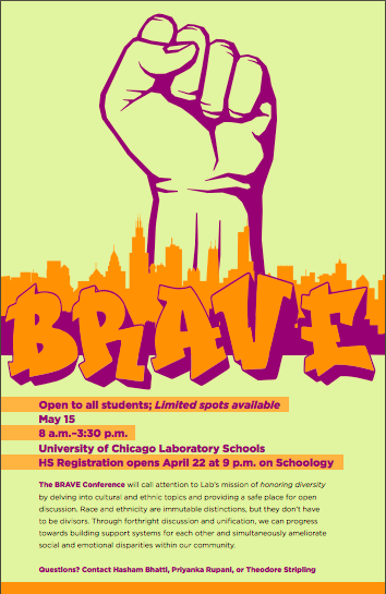 One of the flyers for the BRAVE conference, a student-run diversity discussion.