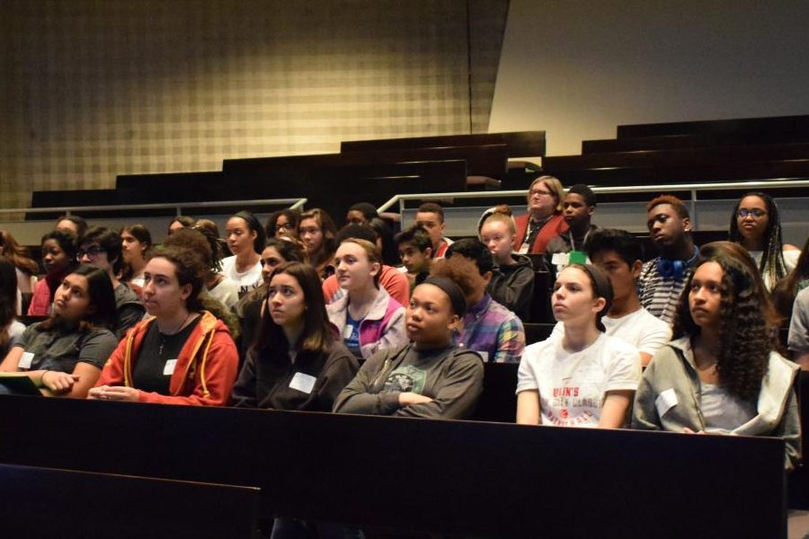 Students at the BRAVE conference watch a TED Talk at the assembly associated with it. The conference was an opt-in, day long activity that was completely student led.