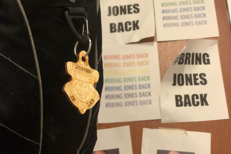 CHIPPING IN. One student proudly displays a woodchip on their backpack. Months after his dismissal, Mr. Bobo-Jones' case is awaiting arbitration.