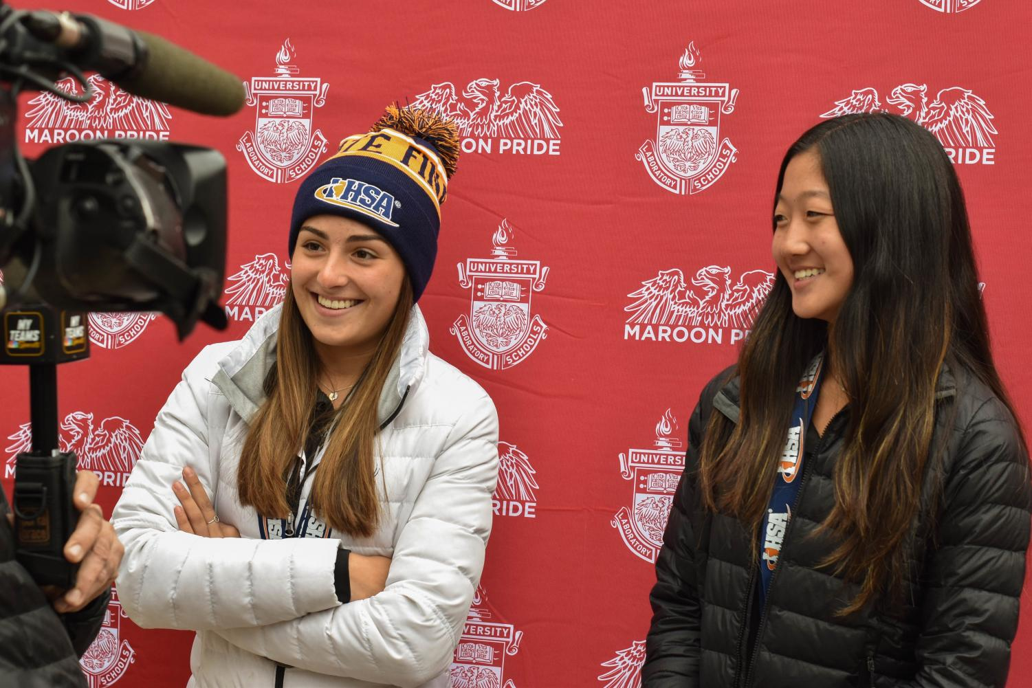 Team members Izzy Kellermeier and Emilee Pak give an interview to NBC Chicago about the state championship. the interview will broadcast Nov. 1.