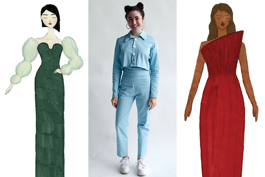 """Middle: Anya Gazes poses with her hand-made pantsuit. After browsing online, she was inspired by a '60s-type pantsuit with a boxy fit. She designed this outfit at the Art Institute's Fashion Design and Construction course this summer.  Left, right: Anya's prospective sketches from the fashion course were elaborate. She considered these designs, but opted for a more basic approach. The two-week course prompted many late nights, hard deadlines and a """"Project Runway""""-esque atmosphere. By the end of the course, she was inspired to pursue fashion in college."""