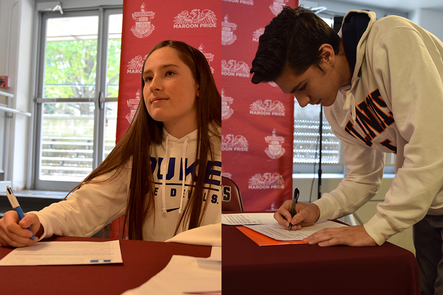 Seniors+Sarah+Lurye+and+Sebastian+Ingersoll+sign+NCAA+D1+letters+of+intent+during+lunch+Nov.+13.+