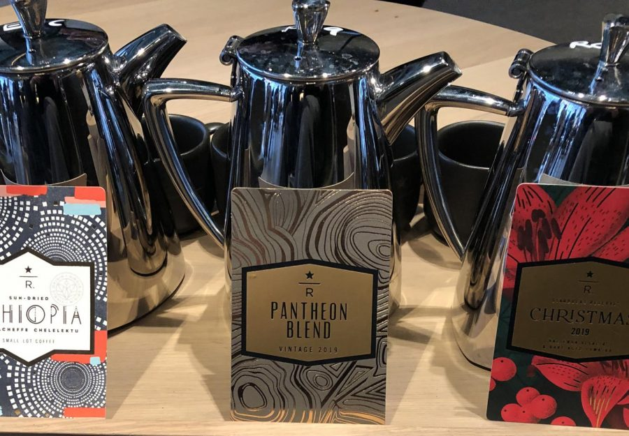 """SPILL THE BEANS. The roastery's extensive menu offers the """"Origin Flight,"""" three unique, traditionally prepared Starbucks brews."""