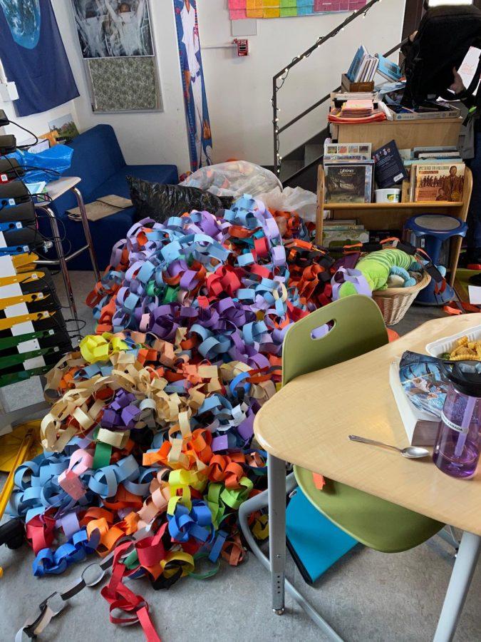 Bundles+of+prepared+paper+chains+await+packing+in+Ms.+Mitzenmacher%27s+classroom.