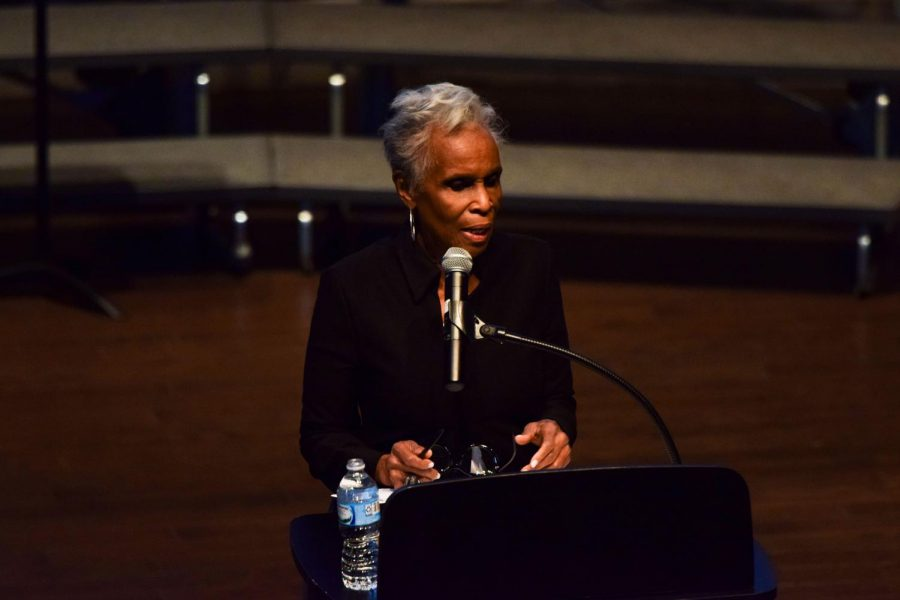 Journalist Dorothy Butler Gilliam speaks at the Martin Luther King Jr. Day Assembly in Gordon Parks Arts Hall. Ms. Gilliam