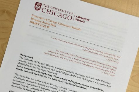 Above, a draft of the Diversity Action Plan from Nov. 2019. The latest draft has been sent to the University of Chicago for approval.