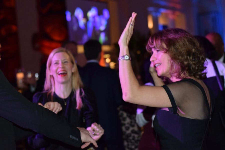 RAISE THE ROOF —Spanish teacher Laura Salas Damer, also a Lab parent, enjoying the dance floor at the event.