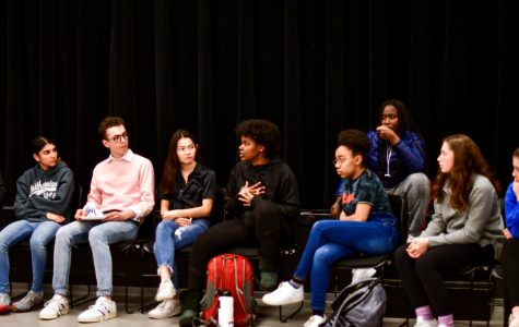 Senior Leah Runesha speaks while students listen during the open forum March 11 that discussed the recent racist incident. Students proposed steps the community can make to prevent these incidents in the future.
