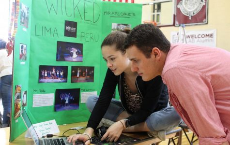 Alyssa Russel, a member of the class of 2019, shows her May Project, which was to work in a production of