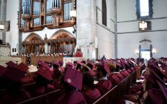 Class of 2019 sits in the University of Chicago's Rockefeller chapel. during their graduation ceremony. Unlike in 2019, there won't be a U-High graduation ceremony at the chapel this year.