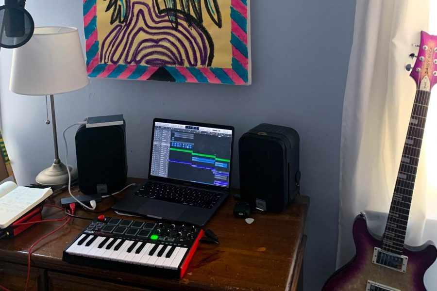 Emelia Piane's music workstation waits ready for her to set to work. Emelia has committed herself to releasing one song each week, adding to her album