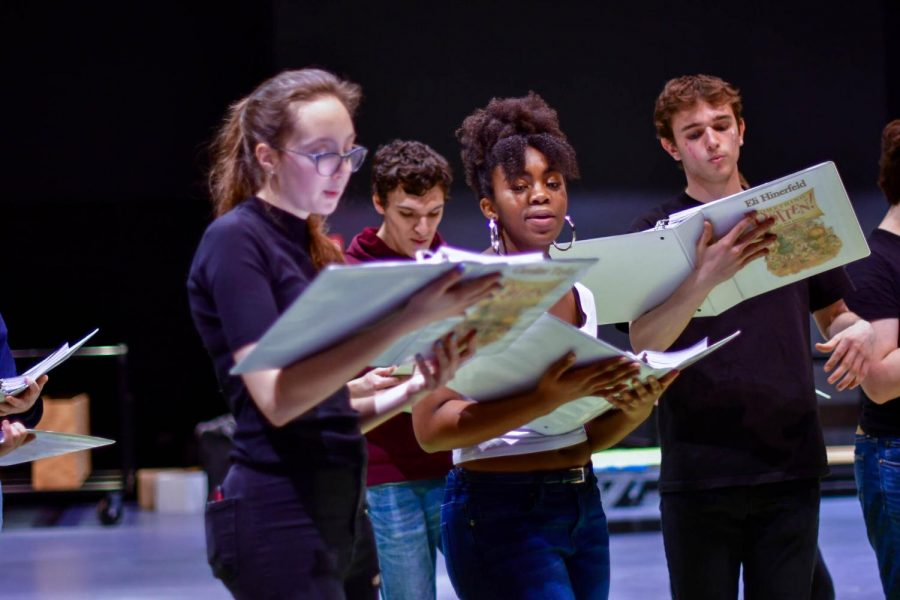 Caroline Taylor, Max Polite, Kennedi Bickham and Eli Hinerfeld sing their parts in an in-person rehearsal for