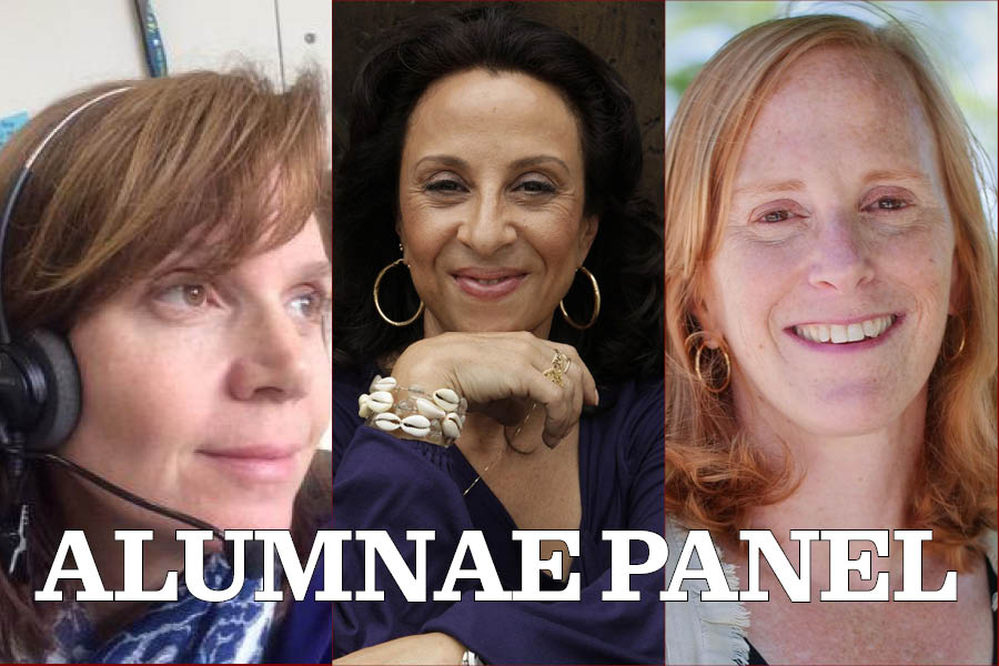 Monica Davies, left, Maria Hinojosa, middle, and Kate Grossman, right, will be the three journalists on the alumnus panel next week.