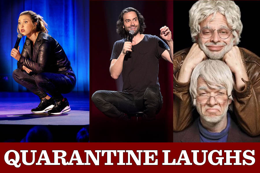 Taylor Tomlinson, left, Chris D'Elia, middle, Nick Kroll and John Mulaney, right, all released their comedy specials on Netflix.