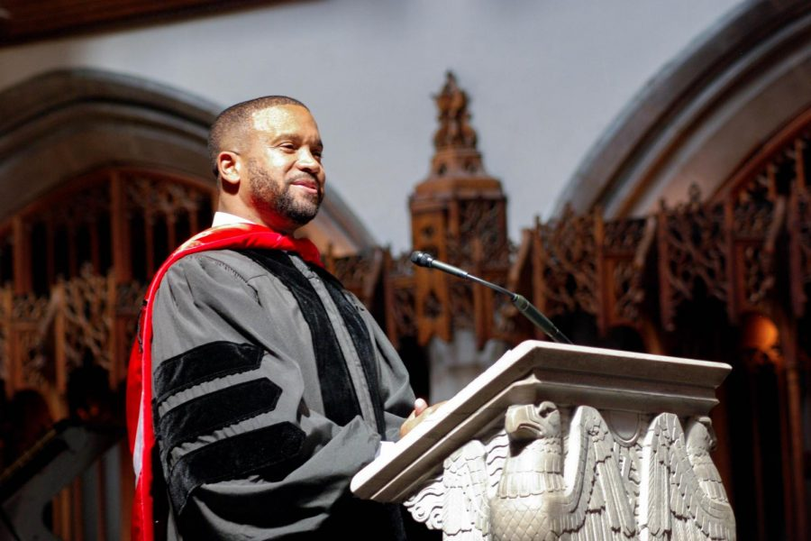 Rev. Dr. Howard-John Wesley, U-High class of 1990, speaks at the graduation of the class of 2017 in Rockefeller Chapel. Dr. Wesley will be returning to speak at the class of 2020 virtual graduation June 11.