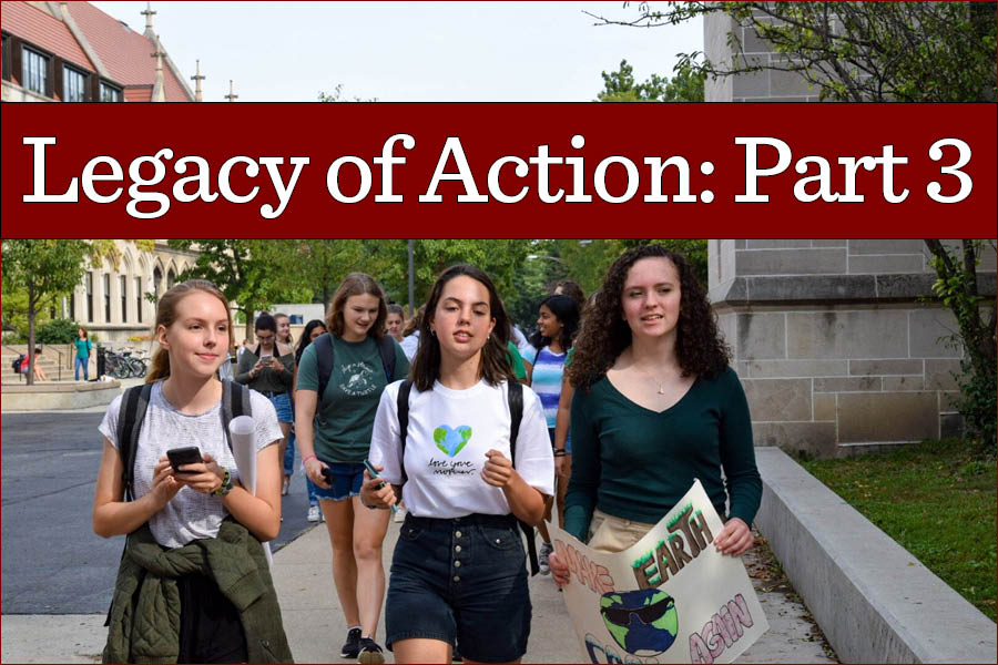 Juniors Rachel Scruby, Clara Grosse and Orla Molloy lead a group of Lab students to the Chicago Youth Climate Strike September 20. Walkouts and protests are still a large part of Lab culture.