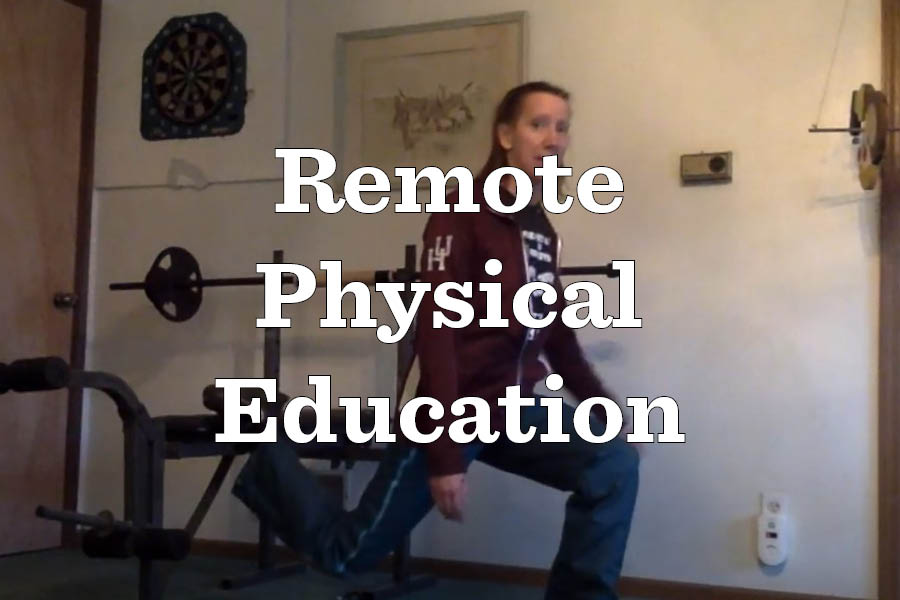 Physical education teacher Diane Taylor posts video of herself working out her quadriceps. She does this to inspire her students to find unique ways to stay healthy at home.
