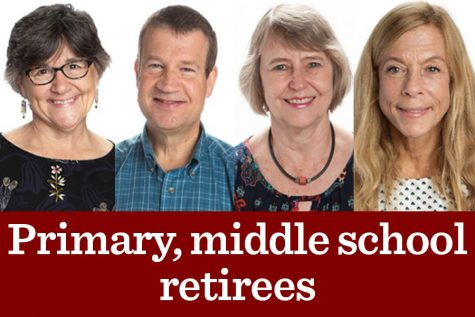Middle school principal Sandra Bixby, left, 6th grade humanities teacher Richard Krull, center-left, Ms. Ogilvie, center-right, and Ms. Marienthal, right, are all retiring this year.