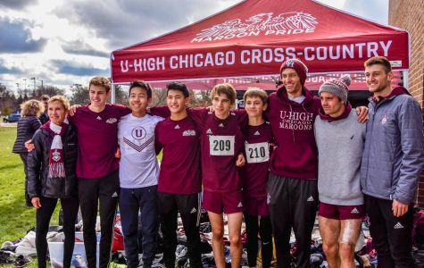 U-High Coach Deborah Ribbens (far left) takes a group photo with her boys cross country team during the 2019 season. Ribbens is retiring from coaching after 18 years.