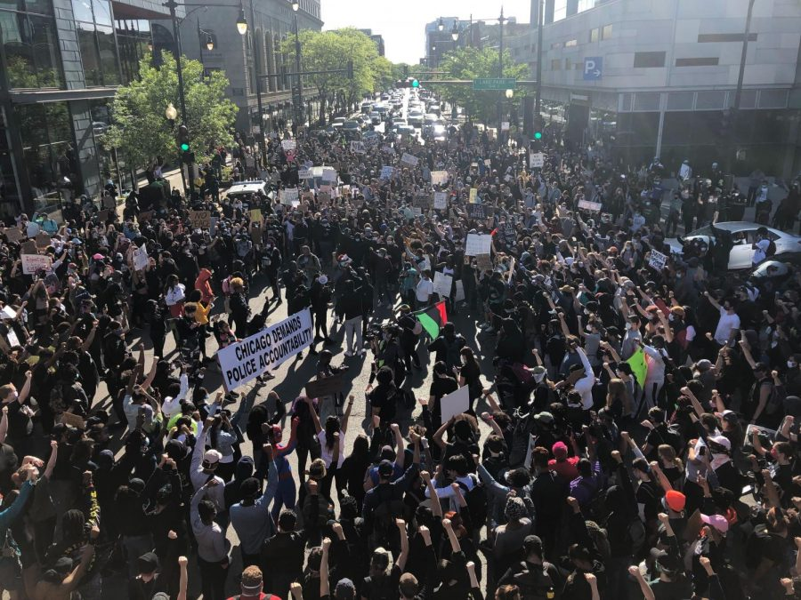 Protesters gathered in Hyde Park May 31 to protest police brutality after the death of George Floyd. The protest began peacefully, but fires, explosions and looting followed the protest later that evening.