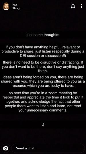 Screengrab from Snapchat story