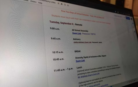 A copy of the first day schedule included multiple assemblies explaining how the academic year would work.