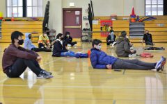 Sophomores attend the in-person retreat while maintaining social distancing.