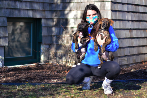 Sophie poses in front of her house with her two current foster dogs. Having fostered 10 kittens and 13 dogs from PAWS Chicago, Sophie developed deep relationships with her animals and learned how it feels to make an impact on others through service.