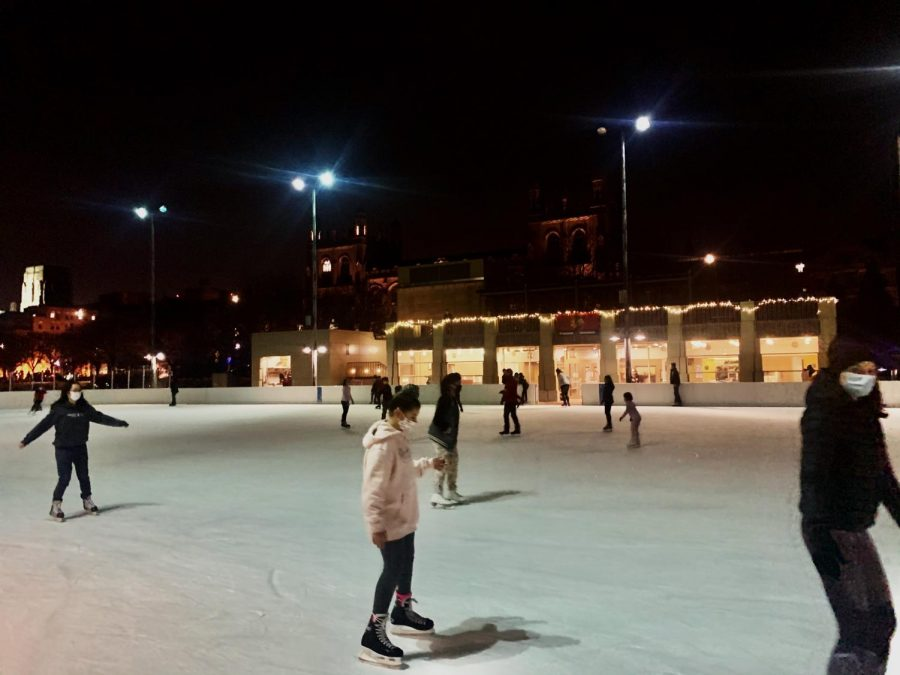 Skaters gather to skate at Midway Plaisance Ice Rink in Hyde Park.