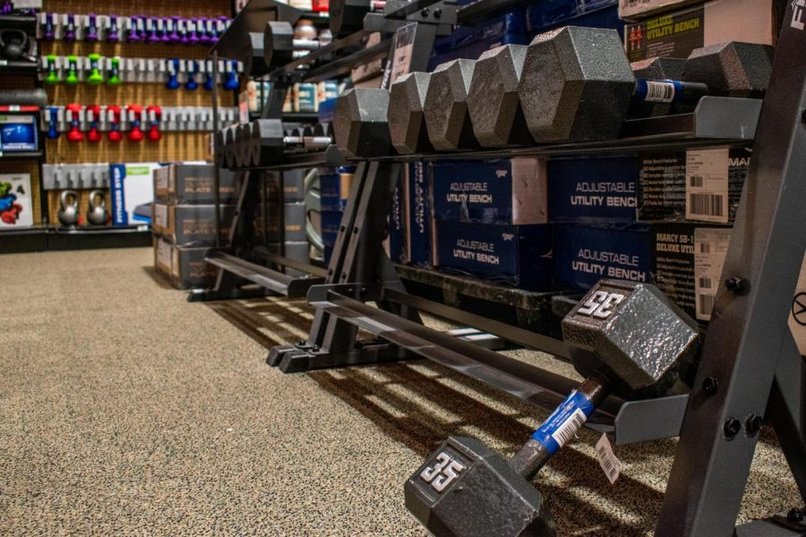 The+shelves+of+sporting+goods+stores+are+left+empty+as+they+struggle+to+keep+up+with+demand.+