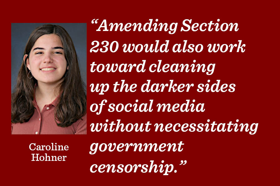 When it comes to government involvement in social media, it can be difficult to think of legislation that doesn't encroach on citizens' First Amendment rights, but allowing those hurt by malicious content to directly argue their cases provides a framework for accountability without doing so, arts co-editor Caroline Hohner writes.