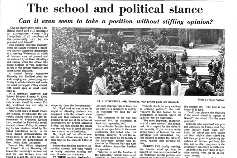 In a Midway article from May 1970, published in the midst of the Vietnam War, U-High students protested at a lunchtime rally. The Class of 1970 have stayed incredibly close due to their shared memories of the war.