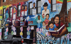 Street art covers the wall of a building in Pilsen, one of Chicago's primarily LatinX neighborhoods.