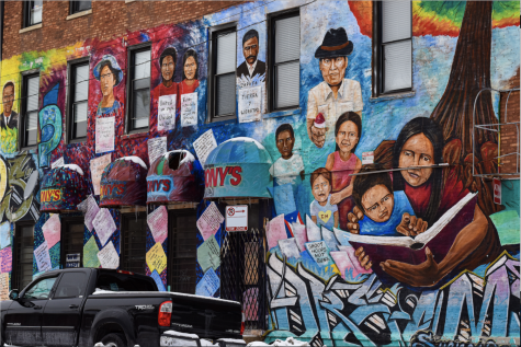 Street art covers the wall of a building in Pilsen, one of Chicago