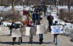 Students and parents protest Lab's conservative return-to-school approach and lack of transparency on Feb. 25 after gathering in front of Blaine Hall.