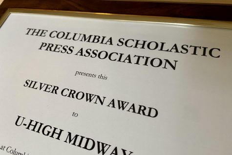 The U-High Midway received the Silver Crown Award for Hybrid News from the Columbia Scholastic Press Association. This is the Midway's fourth Crown in a row, and 24th overall, but the first time it has earned a Crown in the hybrid category, getting recognized for both print and online.