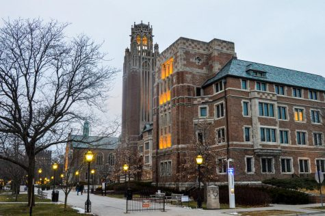 Saieh Hall, an iconic gothic red-brick building stands near the UChicago quad at the corner of University Ave.